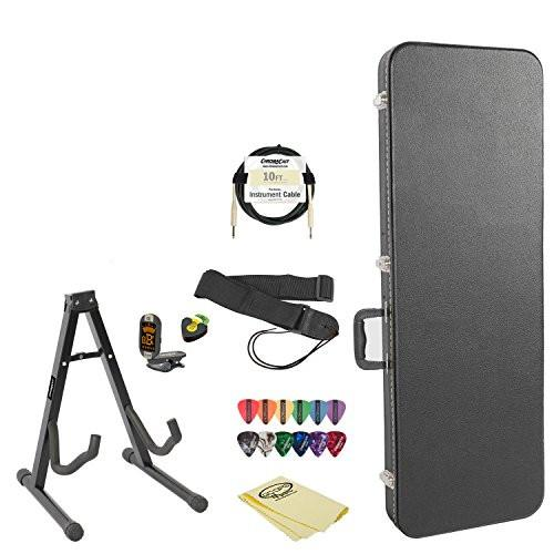 Electric Guitar Accessory Pack with Hard Case, Stand, Strap, Cable, Online Lesson, Pick Holder, Tuner, Cloth and Picks