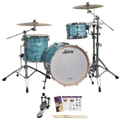 Ludwig USA LK7243KXTQ Turquoister 3-Pc Shell Pack w/ Bass Pedal, Drumsticks & Drumset Survival Guide