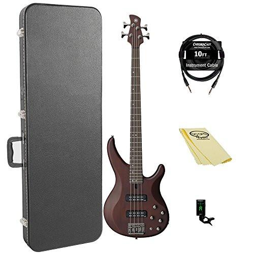 Yamaha TRBX504 TBN-KIT-1 Electric Bass Guitar Kit with ChromaCast Hard Case and Accessories, Translucent Brown