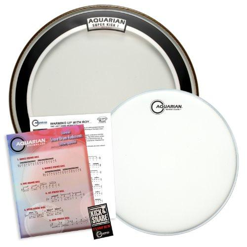 "Aquarian Value Pack: 18"" Clear Super Kick (SKI) Bass Drumhead & 14"" Texture Coated (TC14) Snare Drum Head"