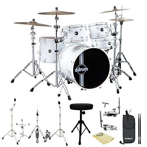 ddrum Reflex Standard Player 5pc Drum Set WHT/WHT Shell Pack, Hardware, Polish Cloth, ChromaCast Throne, Drumstick Bag and 5A Drumsticks