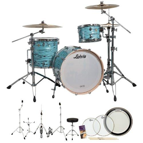 Ludwig USA LK7243KXTQ Turquoister 3-Pc Shell Pack w/ Accessories, Bass Pedal, Drumheads & Hardware