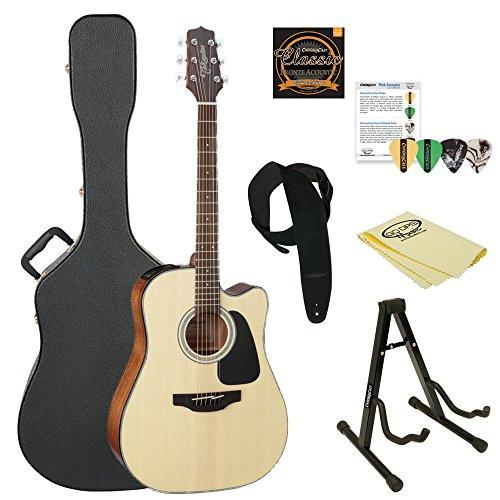 Takamine GD30CE NAT Dreadnought Cutaway Acoustic-Electric Guitar, Natural, with ChromaCast Acoustic Hard Case & Accessories
