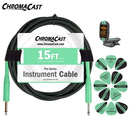 ChromaCast Surf Green Guitar Accessory Pack - Includes: 15ft Cable, Tuner & Pick Sampler