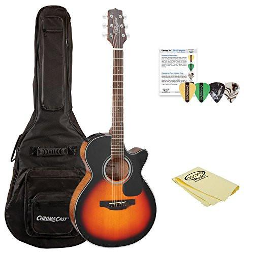 Takamine GF30CE-BSB FXC Cutaway Acoustic-Electric Guitar, Sunburst, with ChromaCast Acoustic Padded Gig Bag, Pick Sampler, & Polish Cloth