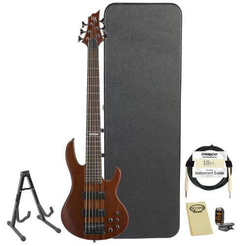 ESP LTD D-6-NS Natural Satin 6-String Electric Bass w/ Accessories & Hard Case