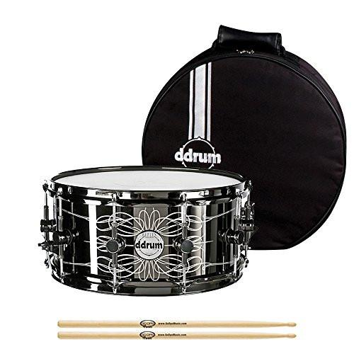 ddrum Tattooed Lady 6.5x14 Snare Drum with ddrum Snare Bag & Signed Vinny Appice Poster,