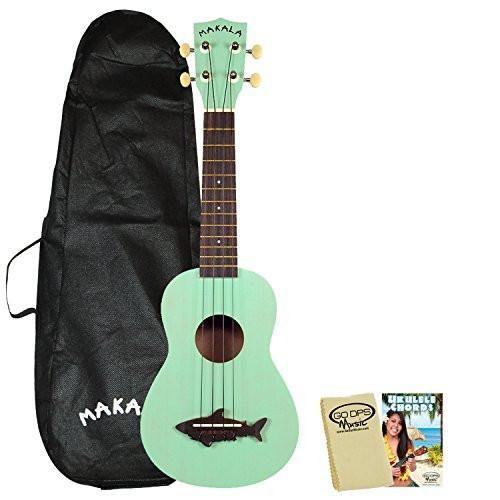 Kala Makala MK-SS Shark Soprano Ukulele Surf Green with Kala Bag, GoDpsMusic Ukulele Chord Guide and Polish Cloth
