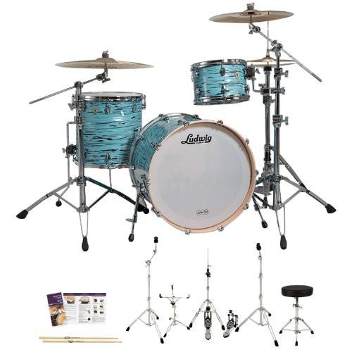 Ludwig USA LK7243KXTQ Turquoister 3-Pc Shell Pack w/ Accessories, Bass Drum Pedal & Hardware