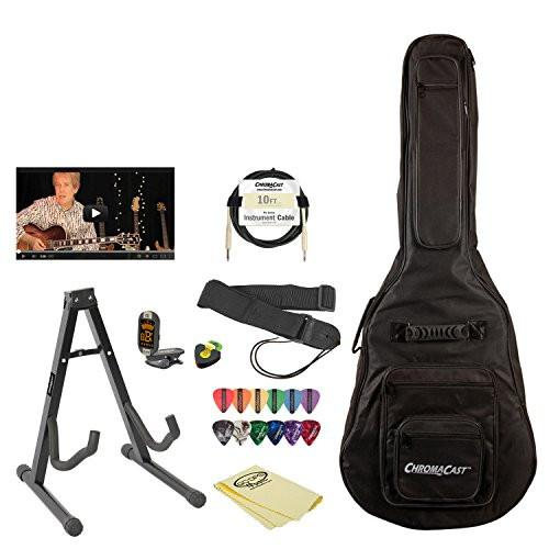 ChromaCast Acoustic-Electric Guitar Accessory Pack with Gig Bag, Stand, Strap, Cable, Online Lesson, Pick Holder, Tuner, Cloth and Picks