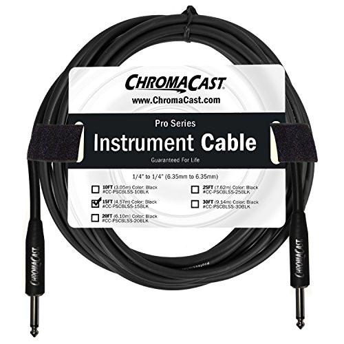 "ChromaCast Pro Series Instrument Cable 15 Feet, Black, 1/4"" Straight to 1/4"" Straight Ends"