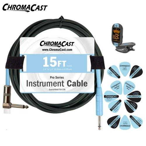 ChromaCast Daphne Blue Guitar Accessory Pack - Includes: 15ft Straight-Angle Cable, Tuner & Pick Sampler