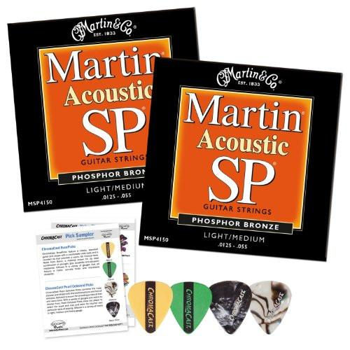 Martin MSP4150 SP Phosphor Bronze Acoustic Guitar Strings, Light-Medium - 2 Packs with ChromaCast 4 Pick Sampler
