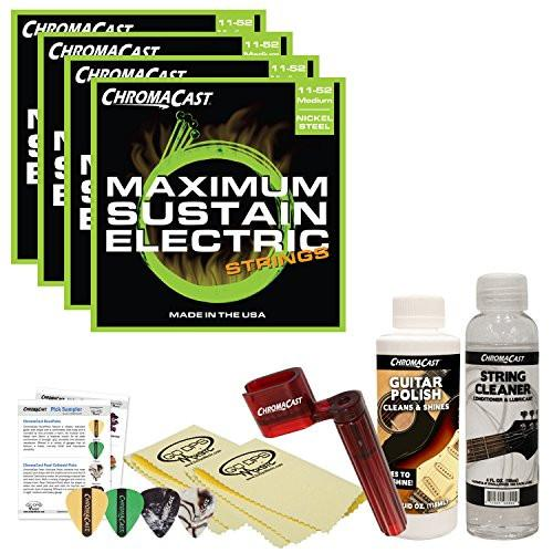 ChromaCast Electric Guitar Accessory Bundle: 4 Packs of Maximum Sustain Medium .011-.052 Electric Guitar Strings, String Cleaner, String Winder, Picks, Guitar Polish and Polish Cloths