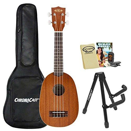 Kala KA-P Satin Pineapple Soprano with ChromaCast Tuner, Uke Bag, Stand, GoDpsMusic Chord Guide and Polish Cloth