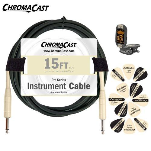 ChromaCast Vanilla Cream Guitar Accessory Pack - Includes: 15ft Cable, Tuner & Pick Sampler