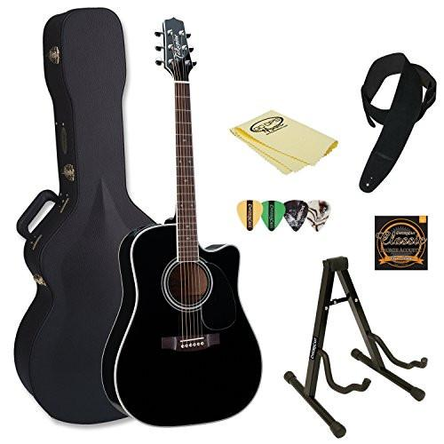 Takamine EF341SC Pro Series Dreadnought Acoustic Electric Guitar Black with Hard Case & Accessories