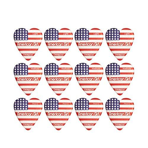 "ChromaCast ""American Girl"" Heart Shaped Pick 12 Pack in Light, Medium and Heavy Gauge"