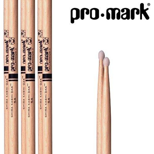 Promark PW5AN Japanese White Oak 5A Nylon Tip Drumsticks 3-Pack - Japanese Shira Kashi