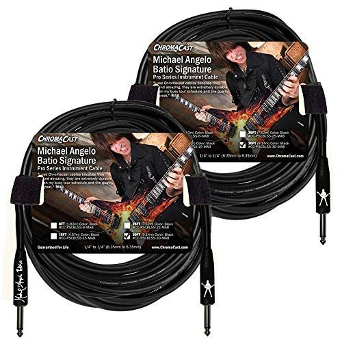 ChromaCast 30' Pro Series Michael Angelo Batio Signature Straight-Straight Instrument Cable, Black 2-Pack