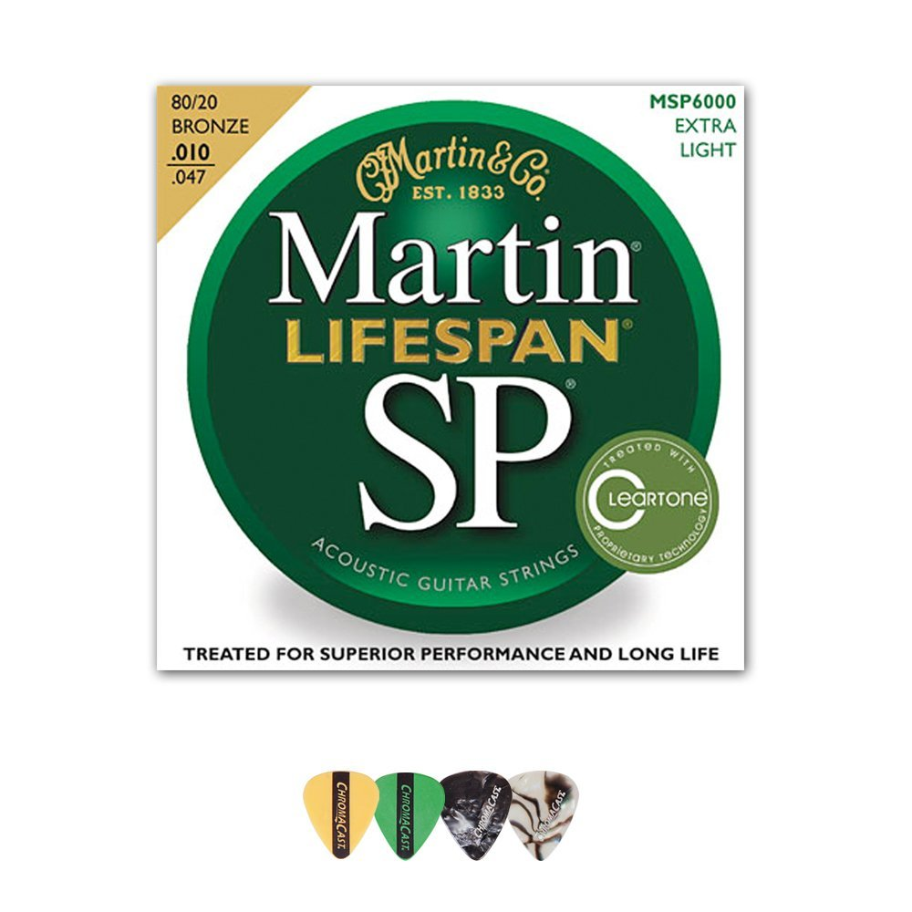 Martin MSP6000 SP Lifespan 80/20 Bronze Acoustic String, Extra Light, 10-47