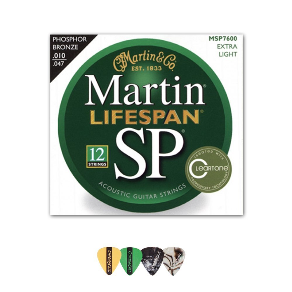 Martin MSP7600 SP Lifespan 92/8 Phosphor Bronze Acoustic String, Extra Light, 12-String, 1 Pack with Pick Sampler