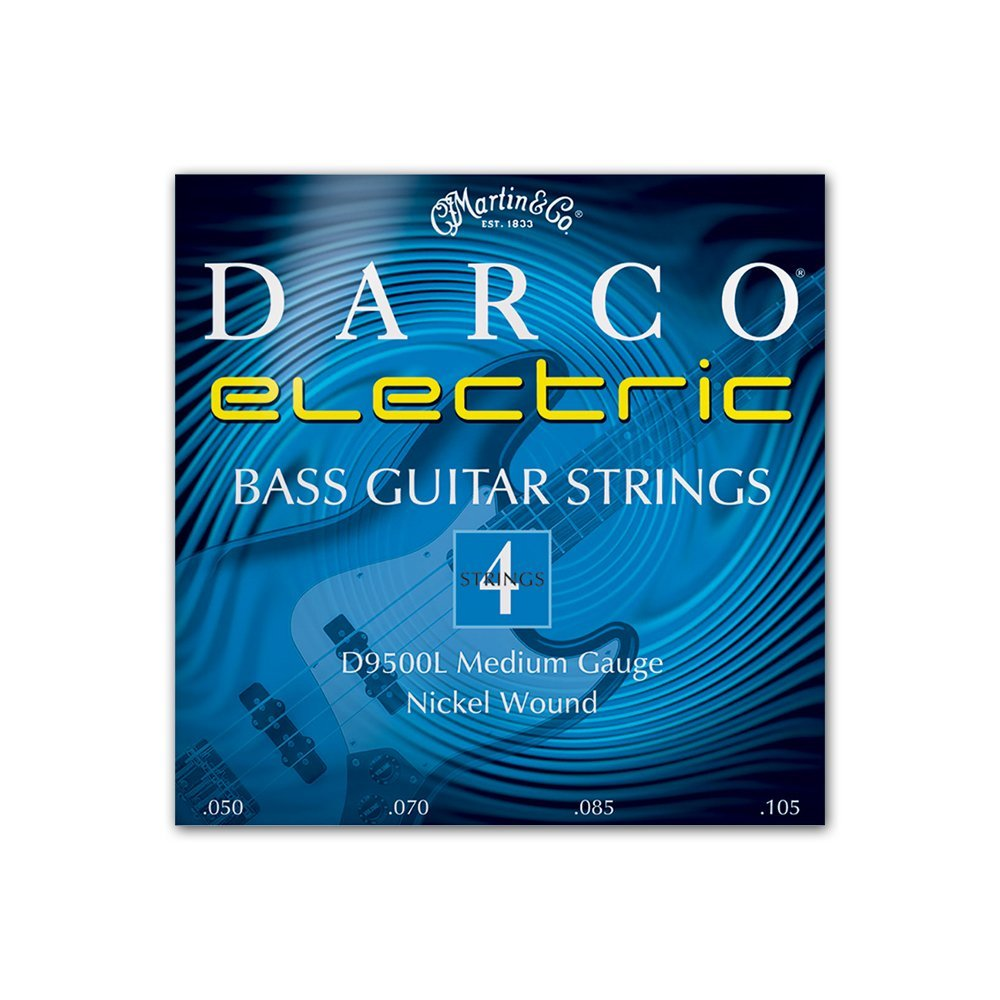 Martin D9500L Darco Nickel Plated Bass Guitar Strings, Medium.050-.105, 1 Pack with Pick Sampler
