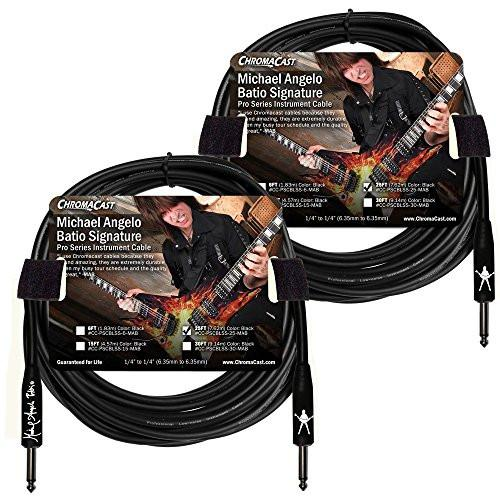 ChromaCast 25' Pro Series Michael Angelo Batio Signature Straight-Straight Instrument Cable, Black 2-Pack