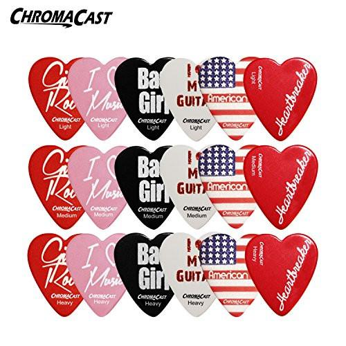 ChromaCast Heart Shaped Picks Assorted 18 Pack Light, Medium & Heavy Guage