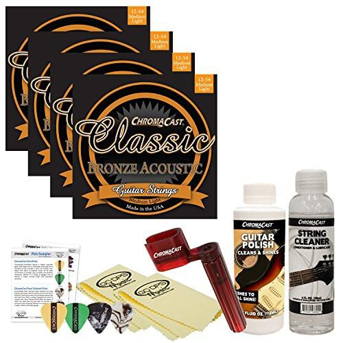 ChromaCast Acoustic Guitar Accessory Bundle: 4 Packs of Classic Bronze Medium Light .012-.054 Acoustic Guitar Strings, String Cleaner, String Winder, Picks, Guitar Polish and Polish Cloths