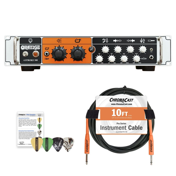 Orange 4-STROKE-500 Class AB Solid State Bass Amplifier Rackmountable Head with ChromaCast Accessories