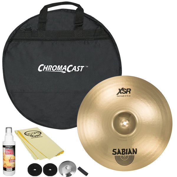 "Sabian 16"" XSR Fast Crash with ChromaCast Cymbal Bag & Accessories"