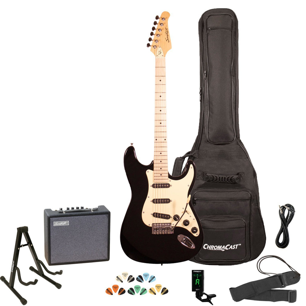Sawtooth ES Series Electric Guitar with Gig Bag, 10 Watt Amp, and Accessories, Black with Vanilla Cream Pickguard