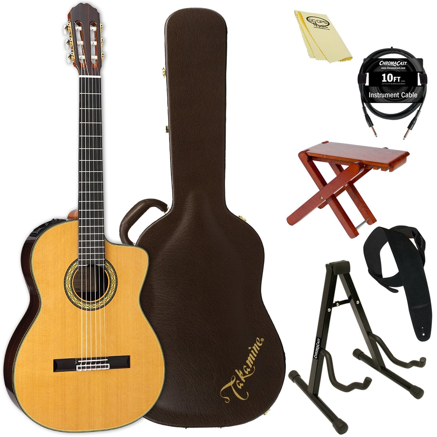 1ff464d565 Takamine Classical Nylon String Acoustic Guitar with Hard Case & ChromaCast  Accessories