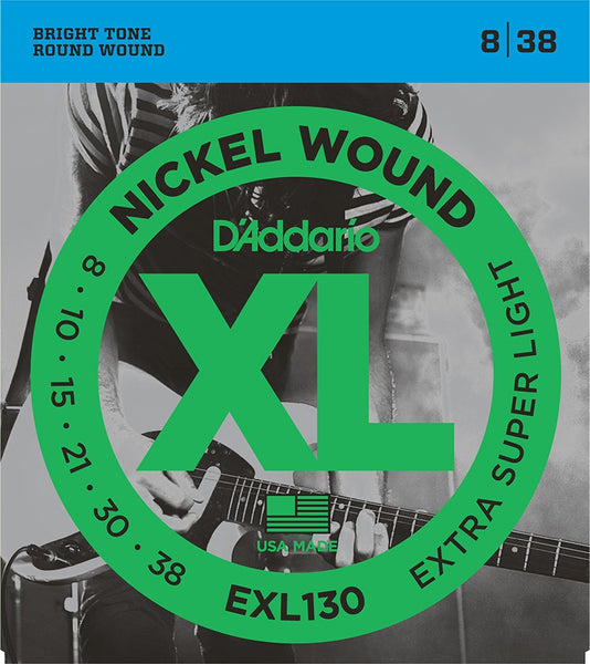D'Addario EXL130 Nickel Wound Electric Guitar Strings, Extra-Super Light, 8-38