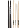 ChromaCast Drum Stick Sampler Pack with 7A Black Wood Tip, 5A Wood Tip, and 5B Nylon Tip Drumsticks