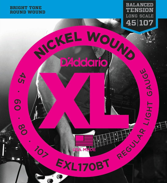 D'Addario EXL170BT Nickel Wound Bass Guitar Strings, Balanced Tension Light, 45-107