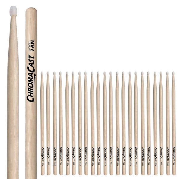 ChromaCast 7A USA Hickory Nylon Tipped Drumsticks, 12 Pairs