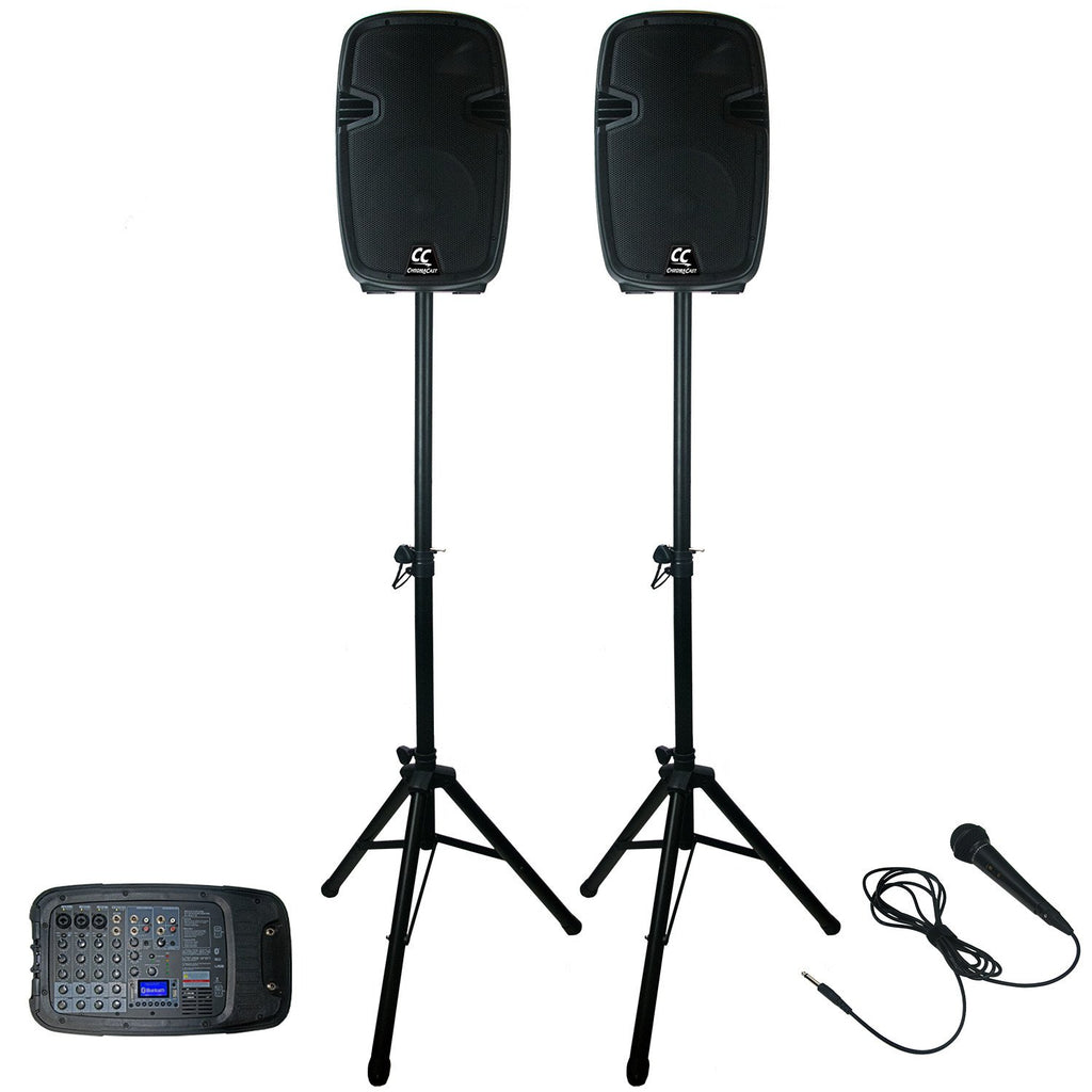 ChromaCast Portable PA 6 Channel 200 watt Sound System w/Bluetooth, USB, & SD card reader - Includes: Microphone, & Stands