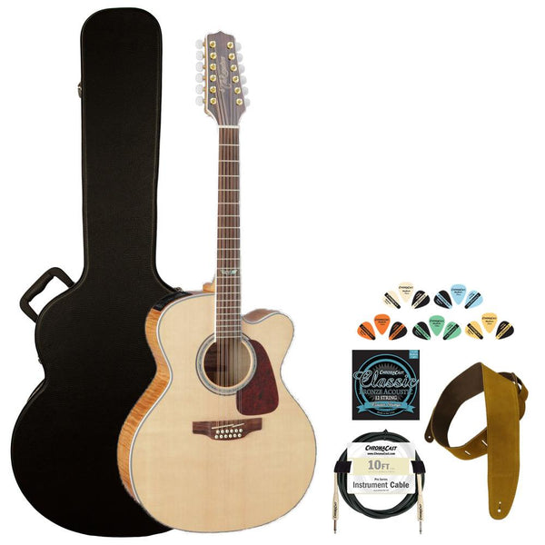 Takamine GJ72CE-12NAT Jumbo Cutaway 12-String Acoustic Electric Guitar w/ Strap, Cable, Strings, Pick Sampler & Hard Case