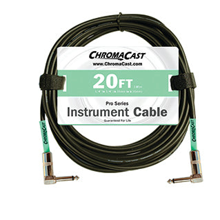 ChromaCast Pro Series Instrument Cable, Angle - Angle, Surf Green, 20 foot