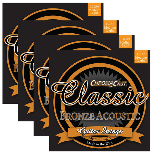 ChromaCast CC-GS-CB-ML Classic Bronze Medium-Light Acoustic Guitar Strings, .012-.054, Pack of 4