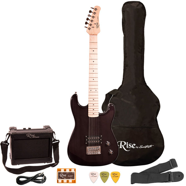 Rise by Sawtooth Right Handed 3/4 Size Beginner Electric Guitar Kit, Trans Black