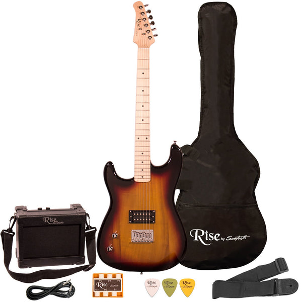 Rise by Sawtooth Left Handed Full Size Beginner Electric Guitar Kit, Sunburst