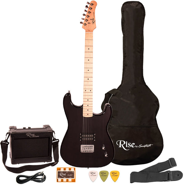 Rise by Sawtooth Right Handed Beginner Electric Guitar Kit, Black