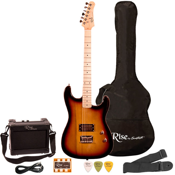 Rise by Sawtooth Right Handed Full Size Beginner Electric Guitar Kit, Sunburst