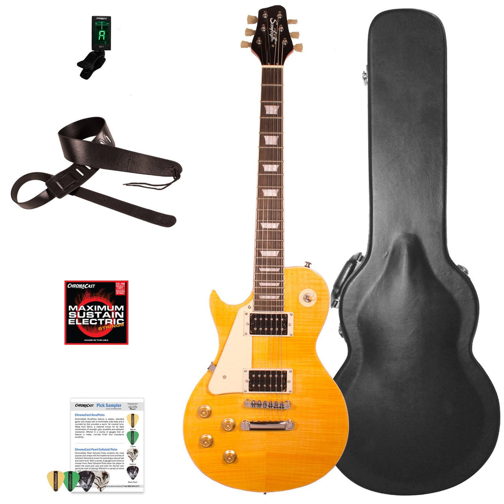 Sawtooth Heritage Series Left-Handed Flame Maple Top Electric Guitar with ChromaCast Pro Series LP Body Style Hard Case & Accessories, Tuscan Flame