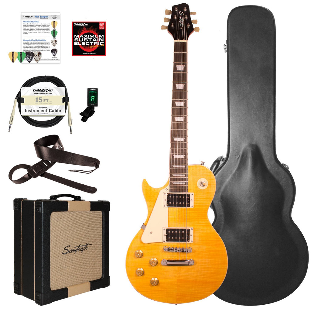 Sawtooth Heritage Series Left-Handed Flame Maple Top Electric Guitar with ChromaCast Pro Series LP Body Style Hard Case, 25 Watt Amp, & Accessories, Tuscan Flame