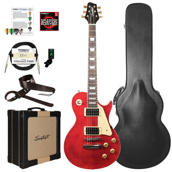 Sawtooth Heritage Series Flame Maple Top Electric Guitar with ChromaCast Pro Series  LP Body Style Hard Case, 25 Watt Amp, & Accessories, Cherry Flame