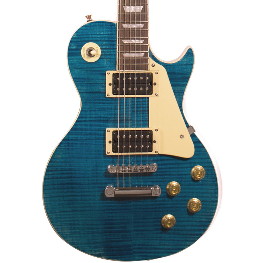 Sawtooth Heritage Series Right-Handed Flame Maple Top Electric Guitar, Cali Blue Flame